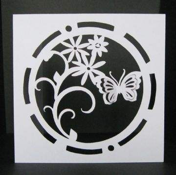 Circle butterfly card template 5 x 5 inch